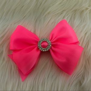 Other - Neon pink head bow clip with buckle rhinestone